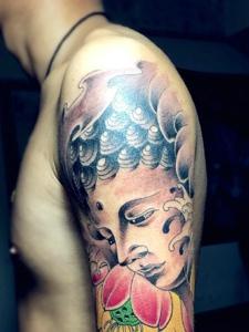 花臂如来佛祖纹身图案个性狂野