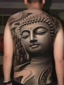 立体感十足的满背3d佛像纹身图案