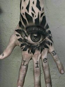 手背3d眼球纹身图案清晰明了