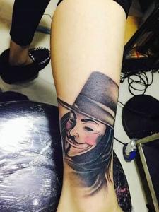 腿部个性男巫纹身图案超级霸气