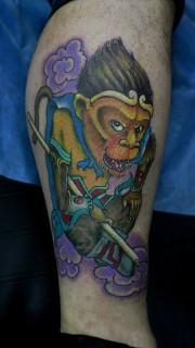俏皮捣蛋美猴王纹身图案