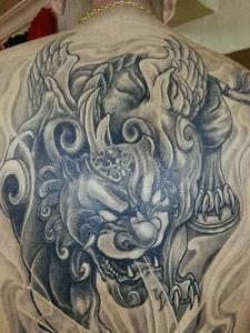 男士后背传统小貔貅纹身女图案