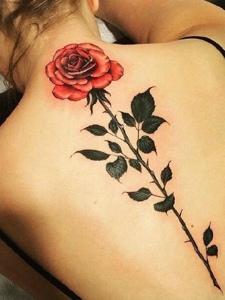 女生脊椎部一只鲜艳的花朵纹身图案