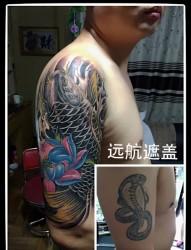 胳膊鱼纹身,鲤鱼纹身,鲤鱼遮盖