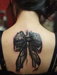 性感的蕾丝蝴蝶结纹身
