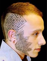 Geometric风格点刺头部纹身