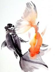 水彩纹身鱼手稿素材观赏