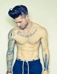 欧美时髦男模帅气纹身写真