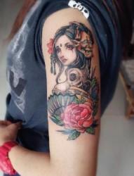 手臂  腿部经典日本艺妓纹身