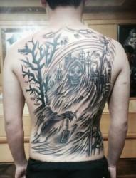 生命终结者  满背死神纹身