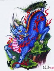 霸气神兽麒麟纹身手稿