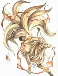 卡哇伊小狐貍紋身手稿
