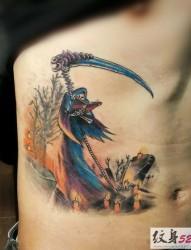 几款腰部个性死神纹身图案