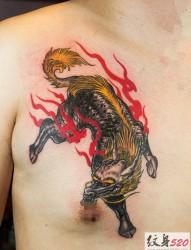 帅气的男性胸部火麒麟纹身