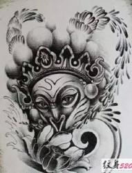 齊天大圣孫悟空黑白紋身手稿