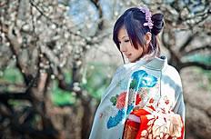 樱花林和服美女图片