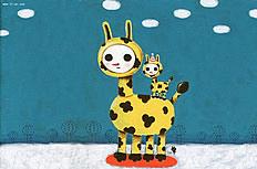 可爱的卡通长颈鹿背景图片