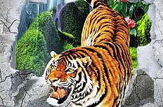 老虎背景墙图片