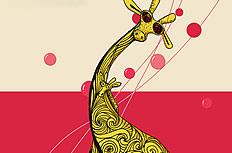 卡通长颈鹿插画图片
