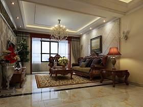 美式客厅沙发茶几装修图