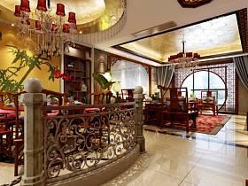 中式中式风格过道四居装修效果展示