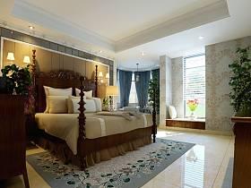 中式中式风格卧室四居装修图