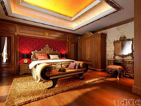 欧式卧室吊顶衣柜梳妆台装修效果展示