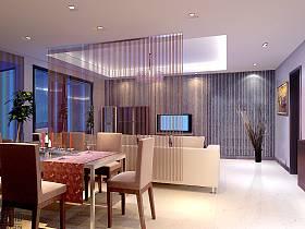 現代簡約過道三室兩廳兩衛設計圖