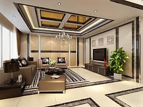 现代现代风格客厅单身公寓吊顶电视背景墙装修效果展示