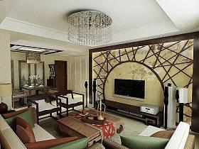 中式中式风格客厅背景墙电视背景墙设计方案