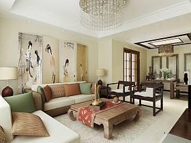 中式中式风格客厅背景墙沙发客厅沙发装修案例