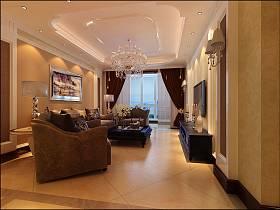 欧式简欧简欧风格客厅吊顶窗帘电视背景墙设计案例