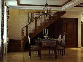 美式餐厅吊顶楼梯装修效果展示