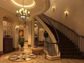 美式别墅过道吊顶楼梯设计图