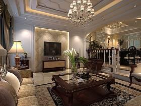 古典客厅吊顶电视背景墙设计案例展示