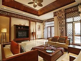 混搭客廳窗簾背景墻沙發燈具設計圖
