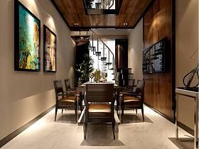 现代简约餐厅背景墙楼梯设计案例展示