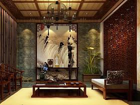 中式中式風格茶館吊頂裝修案例