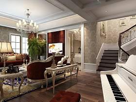 欧式客厅吊顶楼梯电视背景墙设计案例