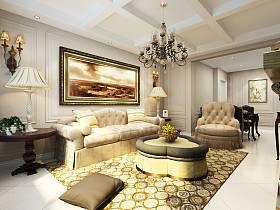 歐式客廳吊頂背景墻沙發客廳沙發設計方案