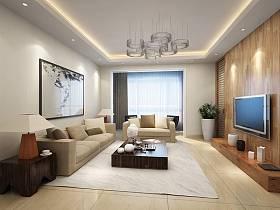 简约时尚客厅电视背景墙设计图