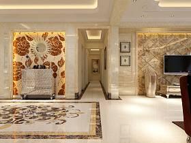 欧式客厅玄关别墅过道玄关柜设计案例