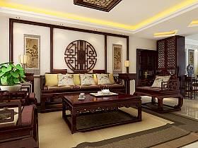 中式客厅沙发单人沙发设计方案