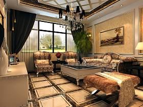 欧式简欧奢华客厅沙发茶几装修案例