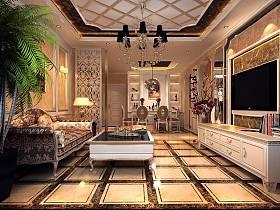 欧式奢华客厅沙发电视柜茶几设计方案