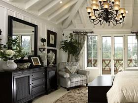 卧室别墅吊顶单人沙发灯具装修图