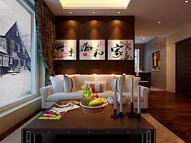 中式客厅隔断背景墙沙发装修效果展示