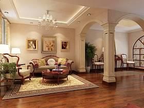 美式美式風格客廳吊頂背景墻沙發客廳沙發設計方案