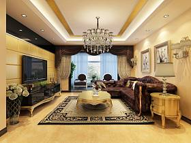 新古典古典新古典風格古典風格客廳吊頂電視背景墻裝修效果展示