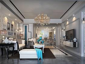 新古典客廳客廳吊燈設計案例展示